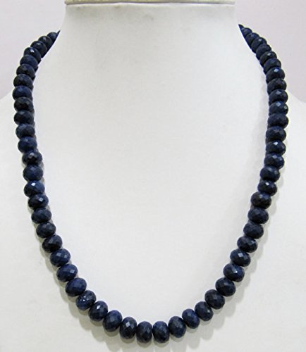 (Blue Sapphire Beads Rondelle Faceted, Beaded Necklace Corundum Sapphire Beads 7 to 10mm 16 inches Long)