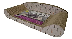 "24"" Cat Scratcher Cardboard by Feline Be Mine - Kitty Couch Cat Scratching Pad Sofa Bed Protect Your Furniture Getting Damaged - Perfect Cat Lounge Scratching Mat - Catnip Included"