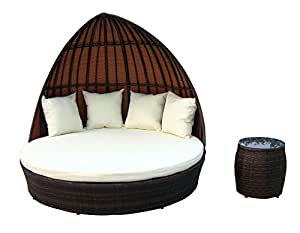 Lounge-cubierta doble de fantasía de mimbre Baidani, marrón