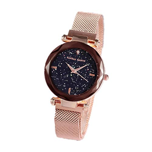 Women Watches, L'ananas Fashion Diamond Cutting Starry Sky Dial Mesh Straps Bracelet Wristwatch (Gold) from L'ananas-Watches