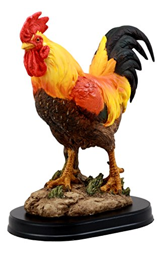 Ebros Proud Country Chicken Rooster Statue with Base 7.5