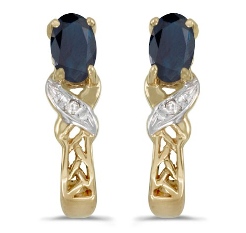 0.50 Carat (ctw) 10k Yellow Gold Oval Blue Sapphire and Diamond Infinity Weave Pattern Stud Earrings with Post with Friction Back (5 x 3 MM)