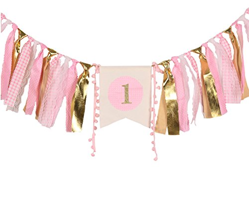 WAOUH HighChair Banner for 1st Birthday - First Birthday Decorations for Photo Booth Props, Birthday Souvenir and Gifts for Kids, Best Party Supplies(Baby Girl)