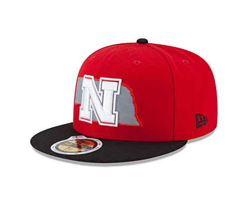 NCAA Nebraska Cornhuskers State Flective Redux 59FIFTY Fitted Cap, 7.625, Red