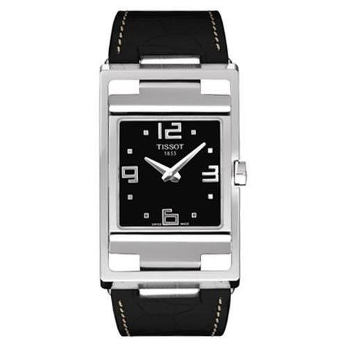 Tissot My-T Open Black Dial Black Leather Ladies Watch T0323091605700