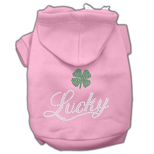 Mirage Pet Products Lucky Rhinestone Hoodies, Pink, Large/Size 14