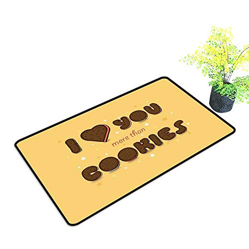 Zmstroy Thin Door mat I Love You More Valentines Quote with Chocolate Cream Filled Cookie Artistic Font Stars W31 xL47 Hard and wear Resistant Multicolor