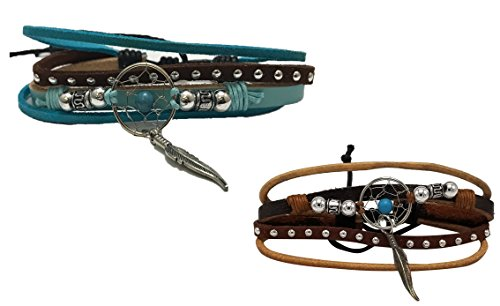 Spirit Bracelet 2 Pack, Multi Strand Leather, Native American Inspired (Set 2)