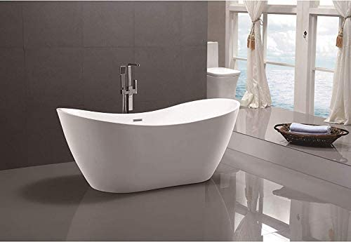Vanity Art 71-Inch Freestanding Acrylic Bathtub Modern Stand Alone Soaking Tub with Polished Chrome, UPC Certified, Slotted Overflow Pop-up Drain – VA6517