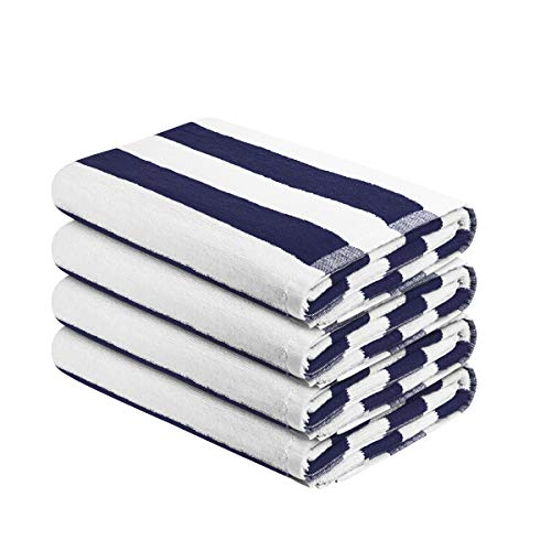 (HOMEIDEAS Striped Cotton Beach Towel - 500 GSM Extra Soft with High Absorbency, Quick Dry Towel for Swimmers, Sand Free Towel (Blue, 30x60In, Pack of 4))
