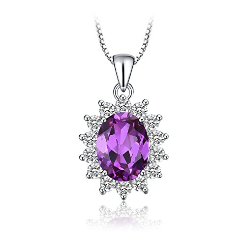 Jewelrypalace Princess Diana William Kate Middleton's 3.2ct Created Alexandrite Sapphire Pendant Necklace 925 Sterling Silver 18 Inches (Diana Sapphire Necklace)