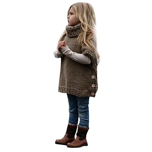 - Toddler Baby Girls Tutlerneck Knitted Loose Sweater Jumper Shawls Autumn Winter Cardigan Cape Cloak Coat Tops (Khaki)