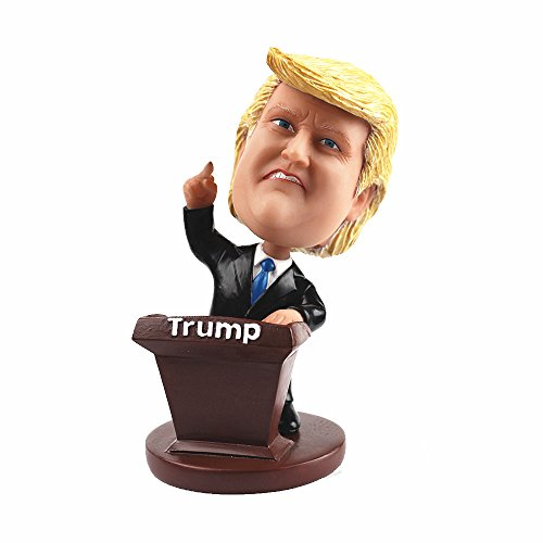 LYNDA SUTTON Funny Trump Bobblehead Gag Gift, President Donald Trump Speaking By Platform With Middle Figure