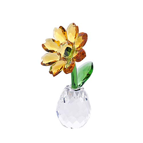 - THREE FISH CRYSTAL Flower Dreams Sunflowers,Crystal Sunflower Figurine Ornament Paperweight Home Office Decor.
