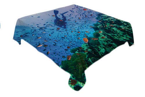 Thai BBQ Tablecloth Scuba Diver on Coral Reef in Clear Blue Water Tiny Tropical Fishes Biodiversity Theme Multicolor Custom tablecloths Small Square Tablecloth 36 by 36 inch