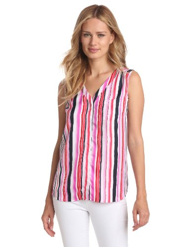 Jones New York Collection Woman Sleeveless Top - Jones New York Women's Sleeveless One Pocket Shirt, Hibiscus Combo, X-Large
