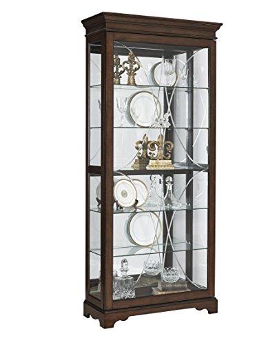 Pulaski P021575 Harley Diamond Etched Sliding Door Curio Display Cabinet, 36.5'' x 14.75'' x 81.75'', Brown by Pulaski