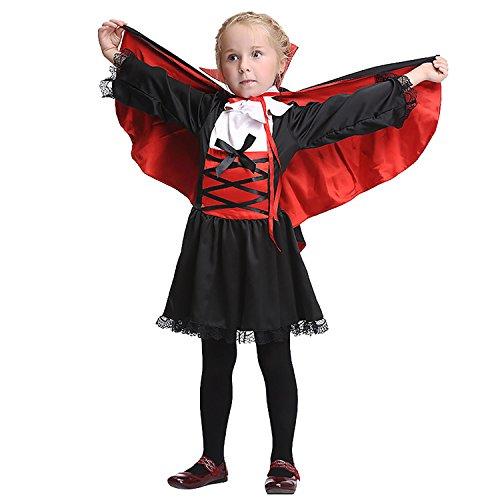 Vampire School Girl Costume (OteRanLin Halloween Vampire Kids Deluxe Costume with Cape Costume Set (S))