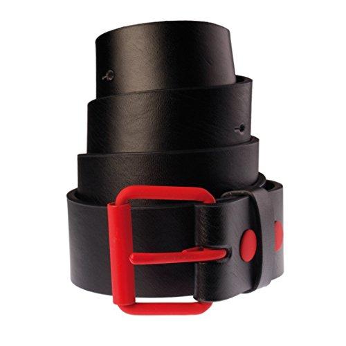 Fasion Taglia Cintura donne bicolore L pelle Cinghia per uomini in nera Masterdis e rossa 8n8xg