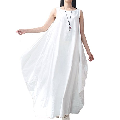 Romacci Women Maxi Sleeveless Dress Plus Size Pockets Loose Swing Tank Tunic Dress White/Red -