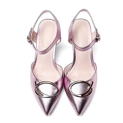 ZHZNVX Zapatos de Mujer Nappa Leather Summer Comfort Heels Stiletto Heel Silver/Pink / Wine Pink