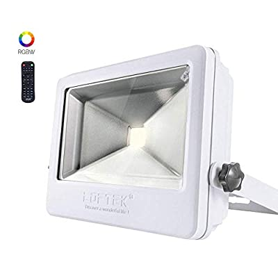 LOFTEK 50W RGB Floodlight 4 Pack, Outdoor Color Changing Flood Light with Dimming and Timer Setting Function, Waterproof IP 66 Spotlight for Lawn and Garden?White