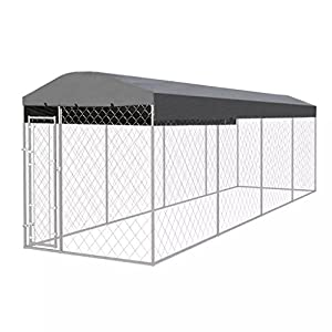 vidaXL Outdoor Dog Kennel with Roof 8x2m Puppy Pet Enclosure Playpen House Click on image for further info.