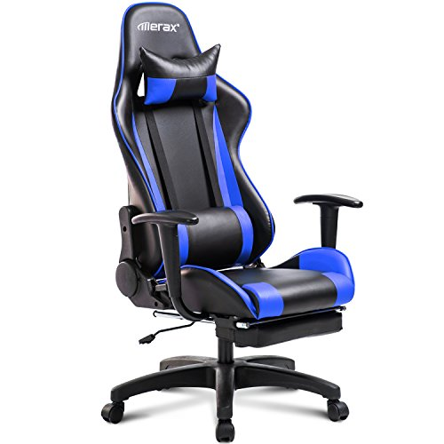 Merax Racing Gaming Chair Office Chair Swivel Computer Chair with Footrest (Blue) by Merax