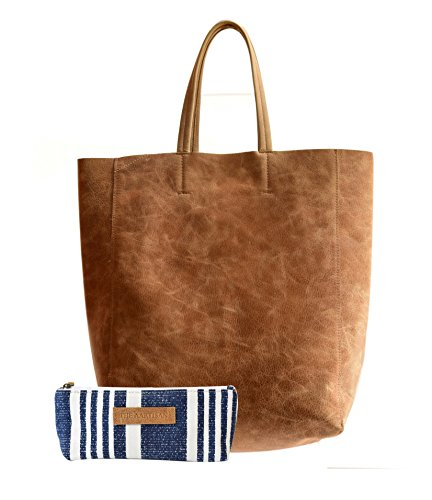 Brown Canvas Tote (The Aartisan Tote Bag for Women 17 Inch Genuine Leather (Chestnut),Multi Functional Tote Bag)