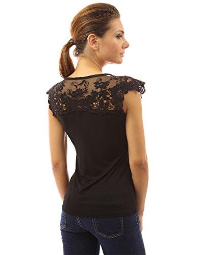 PattyBoutik Mujer crochet encaje floral sin mangas del hombro negro