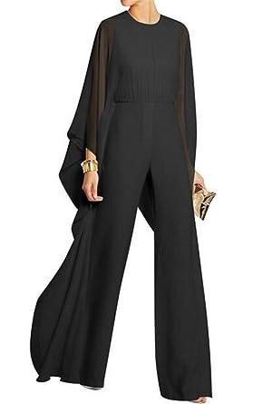 504e8a17992e9 Amazon.com  Nanquan Women Cape Stitch Wide Leg Chiffon Solid Jumpsuit  Pantsuit Romper  Clothing