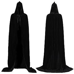 ALIZIWAY Unisex Hooded Cloak Full Long Velvet Cape for Halloween Cosplay Costumes