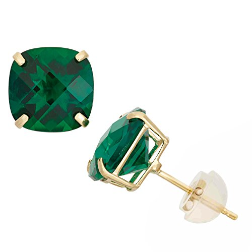 Simulated Emerald Cushion-Cut Stud Earrings in 10K Yellow Gold, 8x8mm, Comfort Fit by Celebration Moments