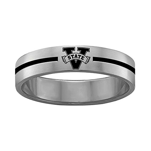 College Jewelry Flame Design Troy University Trojans Rings Stainless Steel 8MM Wide Ring Band