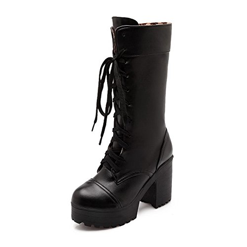 AgooLar Women's Solid Pu High Heels Round Closed Toe Lace up Boots Black