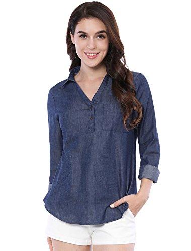 Denim Long Sleeve Blouse - Allegra K Women's Half Placket Long Sleeves Pocket Shirt L Dark Blue