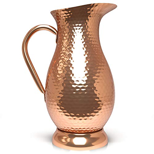 - Pure Copper Pitcher - Extra Large 70 oz - Hammered Copper Water Jug for Ayurveda Health - No Inner Liner