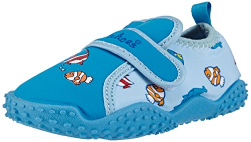 Playshoes Badeschuhe Fische mit höchstem UV-Schutz nach Standard 801 174761, Jungen Aqua Schuhe, Blau (original 900), 20/21 EU
