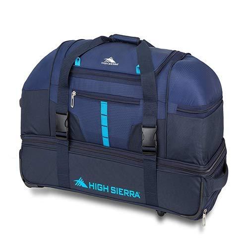 High Sierra Evolution Drop Bottom Wheeled Duffel Bag, True Navy/Midnight/Pool, 30