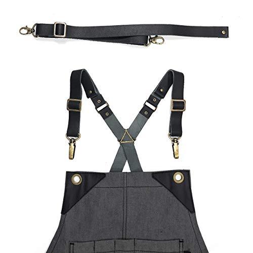 Full Grain Black Leather Strap Set for Cross-Back Aprons - Stylish Straps with Metal Hardware for Chef, Barber, Bartender, Barista, Tattoo Artist, Mechanic - Adjustable for Men and Women ()