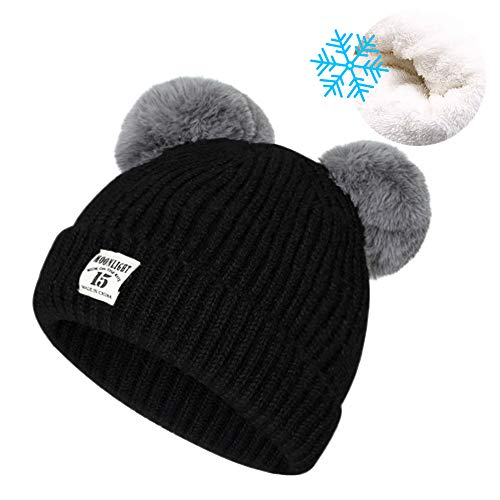 Unisex Baby Winter Hat Cute Pom-Pom Beanies for Boys Girls, Warm Knit Fleece Lining Skull Cap Soft Crochet Hats with Double Fur Ball for Baby Toddler Infants 6-24 Months, Black