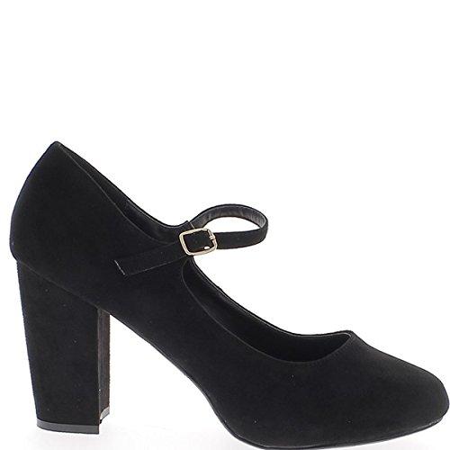 Retro gran zapatos de tacón negro 10.5 cm de tamaño y Honda ante mirada