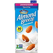 Almond Breeze Almond Milk, Unsweetened Vanilla, 32 Ounce (Pack of 6)