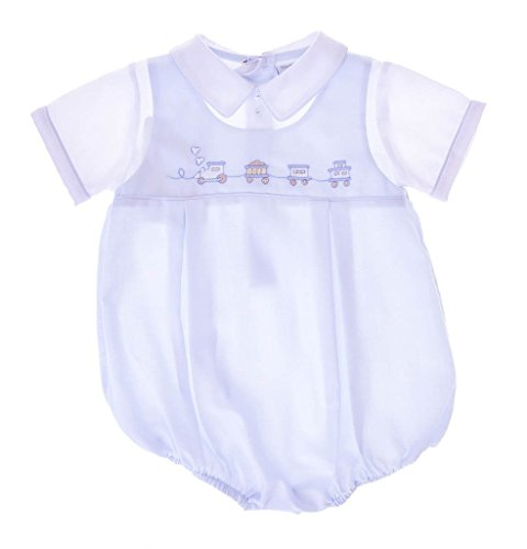 Carriage Boutique Baby Boys Hand Smocked Classic Creeper - Blue Train, 3M