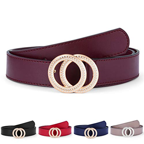 (Women's Belts Genuine Leather Fashion Luxury Designer Belt For Jeans Dress Double Ring Round Diamond Buckle (Style 2 - Burgundy Belts + Gold Buckle, 110 cm / 43.3