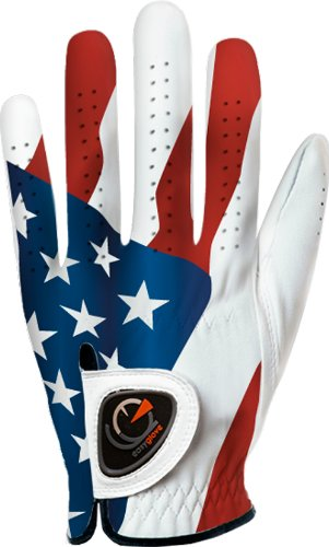 Custom Golf Gloves - easyglove Flag_USA-2 Men's Golf Glove (White), Medium, Worn on Left Hand