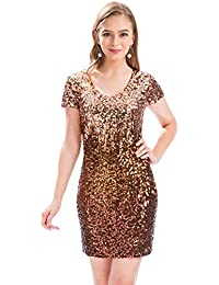 Womens Sequin Glitter Short Sleeve Dress Sexy V Neck Mini Party Club Bodycon Gowns
