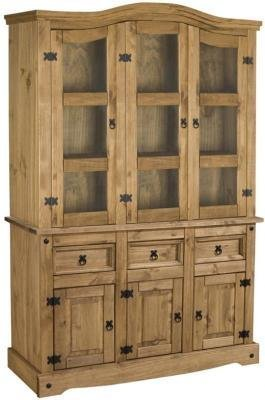 Corona mexican style 4'6 buffet hutch, solid pine in distressed waxed finish by - Pine Solid Hutch