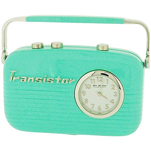 (Miniature Green Transistor Radio Novelty Old Style Desktop Collectors Clock 9142)