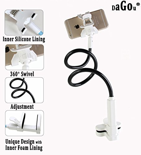 Dagou, Gooseneck Flexible Long Arms Cell Phone Clip Holder Stand with Sitck-on Car Mount for Iphone 6,6 Plus,5,4s,3gs,ipod,gps,pda,samsung Galaxy, Htc, Nokia, Lg, Blackberry Holder with Fully Function (Black)